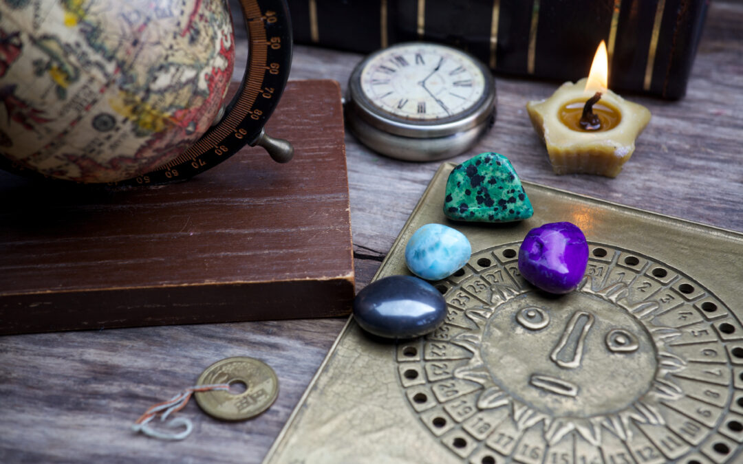 Gems and stones sitting on a table