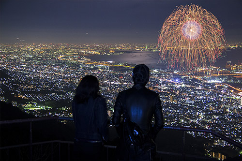 Couple watching a fireworks display